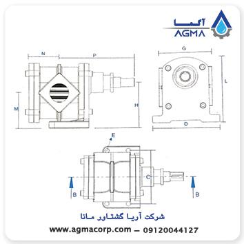 ابعاد پمپ دنده خارجی ایران تولید سری hf