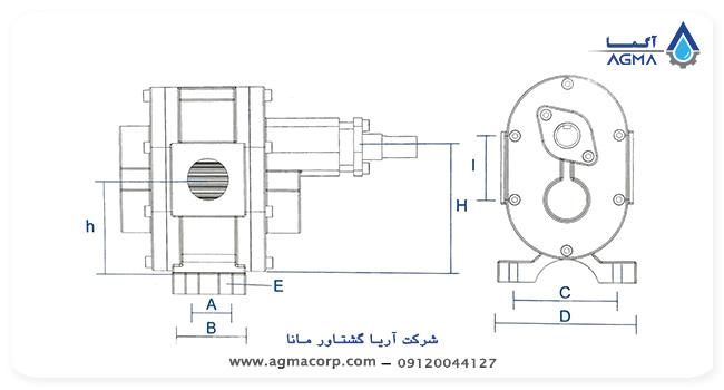 ابعاد و اندازه پمپ دنده ای ایران تولید سری VG